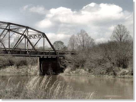 Bridge Photograph with Black and White Layer Blended with Full Color