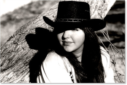 Black and White Portrait Cowboy Hat